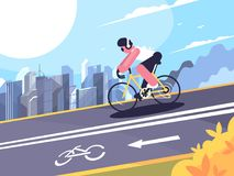 Cyclist on track for cyclists Royalty Free Stock Image