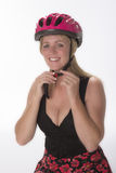 Cyclist wearing a safety helmet Stock Photo