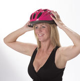 Cyclist wearing a safety helmet Royalty Free Stock Image