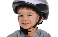 Cyclist wears helmet Stock Photos