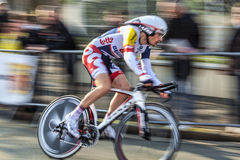 The Cyclist Willems Frederik- Paris Nice 2013 Prol. Houilles, France- March 3rd 2013: Panning image of the Belgian cyclist Willems Frederik from Lotto Belisol Royalty Free Stock Photo