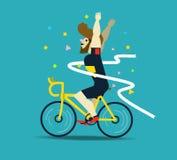 Cyclist winning the race. Stock Image