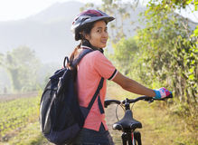 Cyclist woman Stock Photography