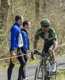 The Cyclist Yannick Martinez in The Forest of Arenberg- Paris Roubaix 2015 stock images