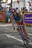 Cyclist at Youth Olympic 2010 Triathlon Relay Stock Photography