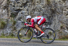 The Cyclist Yuri Trofimov. Chorges, France- July 17, 2013: The Russian cyclist Yuri Trofimov from Katusha Team pedaling during the stage 17 of 100th edition of Royalty Free Stock Image