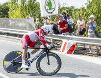 The Cyclist Yury Trofimov - Tour de France 2014. Coursac, France - July 26, 2014: The Russian cyclist Yury Trofimov ( Katusha Team) pedaling  during the stage 20 Stock Images