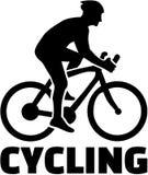Cycliste avec le recyclage de mot illustration libre de droits
