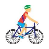 Cycliste avec le vecteur de bicyclette dans la conception plate Photographie stock