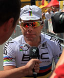 Cycliste Cadel Evans Images libres de droits