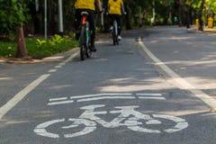 Cycliste dans la ruelle de vélo Photographie stock