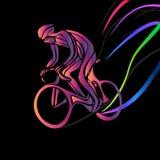 Cycliste dans une course de vélo Clipart de vecteur de couleur illustration libre de droits