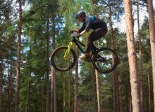 Cycliste de cascade de style libre dans le plein vol très haut avec des arbres à l'arrière-plan Images stock
