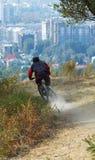 Cycliste de montagne sur le chemin image libre de droits