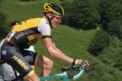 Cycliste néerlandais Robert Gesink dans une étape de montagne Images libres de droits