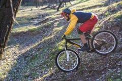 Cycliste professionnel dans un chandail jaune et des shorts rouges entraînant une réduction une colline, l'espace libre Style de  image stock