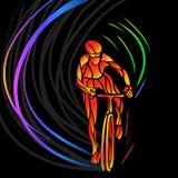 Cycliste professionnel impliqué dans une course de vélo illustration de vecteur