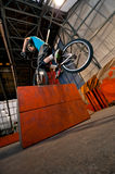 Cycliste restant sur le cadre sur la roue avant Image libre de droits