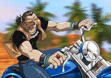 Cycliste sur la route Image stock