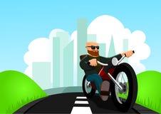 Cycliste sur la route Illustration Stock