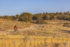 Cycliste sur la traînée en montagnes de vallée de l'Utah photos libres de droits