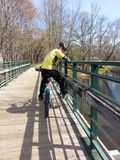 Cycliste sur le pont Photo stock