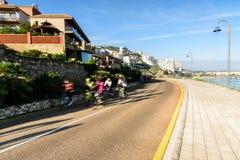 Cycliste sur le vélo de route Images stock