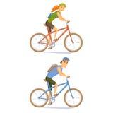 Cycliste sur le vélo de montagne Photos stock