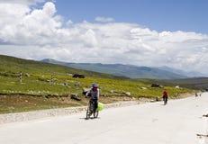 Cyclistes dans l'aera de montagne Photos stock
