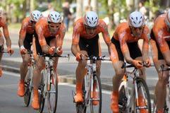 Cyclistes dans le d'Italia 2011 de chèques postaux Images stock