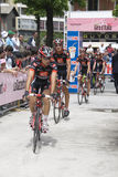Cyclistes dans le d'Italia de chèques postaux Images libres de droits