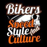 Cyclistes de crâne vitesse, style et culture dessin de main de vecteur, photographie stock