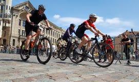 Cyclistes en concurrence Images libres de droits
