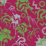 Cyclistes et fond expressif de recyclage de composants illustration stock