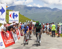 Cyclistes sur le col De Val Louron Azet Photo stock