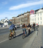 Cyclists. Cyclist commutingto work in Copenhagen, Denmark royalty free stock photos