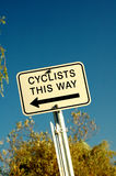Cyclists. A directional road sign for cyclists stock photo