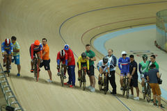 Cyclists in action during Rio 2016 Olympics women`s keirin first round heat 4 at the Rio Olympic Velodrome. RIO DE JANEIRO, BRAZIL - AUGUST 13, 2016: Cyclists in Royalty Free Stock Image