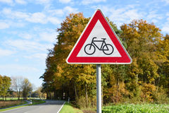 Cyclists ahead sign road in germany Stock Photography