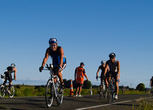 Cyclists appoach halfway turnaround. Royalty Free Stock Images
