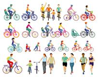 Cyclists and athletes. Colorful illustration of cyclists on a variety of machines (some with attachments) and including a toy bike  and a scooter. Runners are Royalty Free Stock Photography
