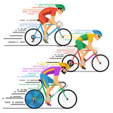 Cyclists in bicycle racing. Vector characters flat Royalty Free Stock Images