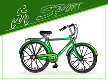 Cyclists. Bicycles for different purposes. Sports men's and women's bicycle. Three-wheeled cargo bike. Vector. Stock Photography