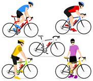 Cyclists on bicycles. A group of cyclists in the bicycle race. Set of flat icons cyclists in a flat style Stock Photos