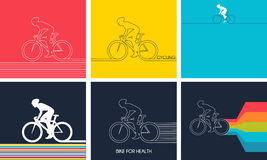 Cyclists on bikes. set  d vector illustration. Stock Photography