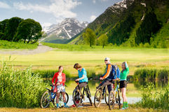 Cyclists biking outdoors