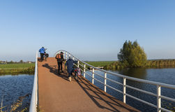 Cyclists Bridge Groot-Ammers Royalty Free Stock Photos