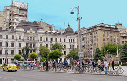 Cyclists in Bucharest. BUCHAREST, ROMANIA - 21 MAY 2016: The Long Night of Museums was celebrated in Bucharest as in many other Europeaqn cities with cyclists Stock Photos