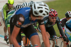 Cyclists Bunch Up In Tight Pack At Atlanta Velodrome Race Royalty Free Stock Photo