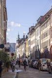 Cyclists  in central Copenhagen Denmark Stock Photos